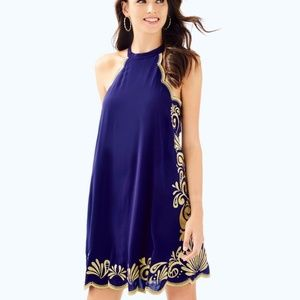 NWT Lilly Pulitzer Medium Navy and Gold Dress